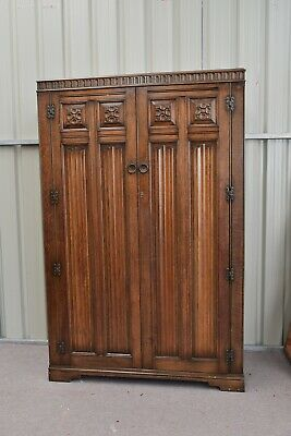 carved oak double wardrobe