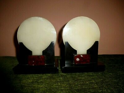 French Art Deco Marble Bookends/Garnitures