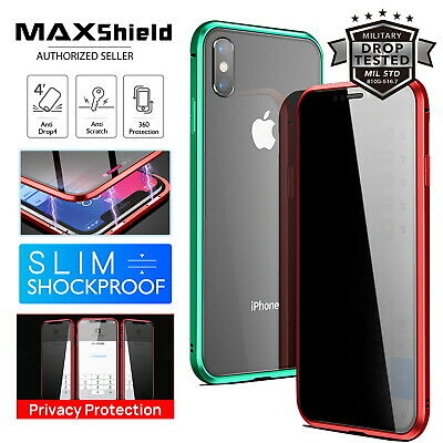 Anti Peep Magnetic Phone Case Double Side Glass Cover iPhone XR XS MAX 7 8 Plus