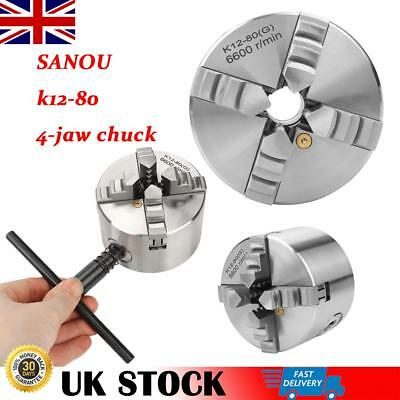 3inch SANOU k12-80 4 Jaw Self-Centering Lathe Chuck 80mm Turning Accessories UK