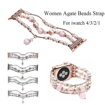 Band Metal Watchband Agate Beads Strap Bracelet For Apple Watch Iwatch 4/3/2/1