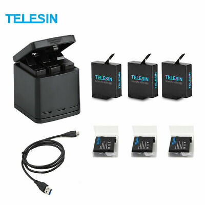 TELESIN 3Way Battery Charger Charging Box + 3 Battery Pack for GoPro Hero 7 6 5