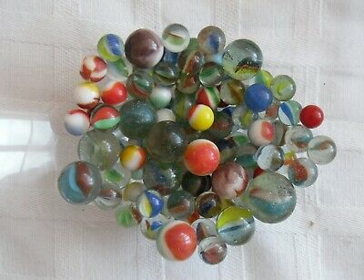 Antique glass marbles - 108 assorted sizes
