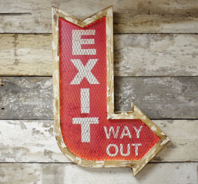 LED Exit Wall Sign Light Up Bar Mounted Hanging Man Cave Way Out Novelty Arrow