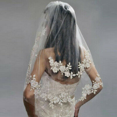 White Ivory Elbow Length Wedding Bridal Veils Flower Lace Edge Beaded With Comb