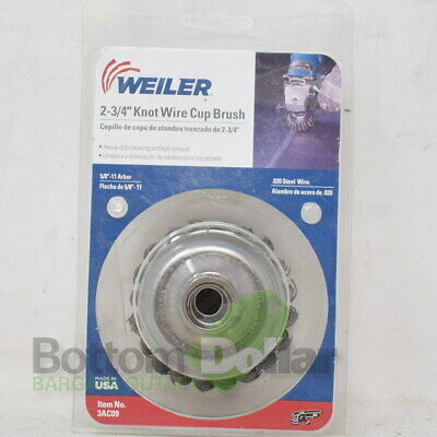 "Weiler 3AC09 2-3/4"" Steel Heavy-Duty 5/8""-11 Arbor Knot Wire Cup Brush"