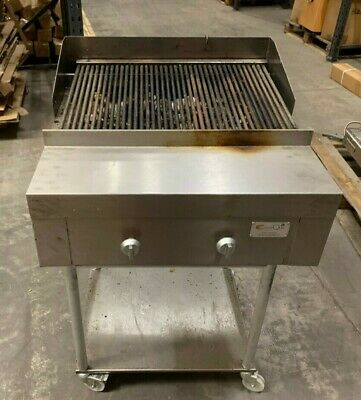 2 Burner Gas Charcoal Grill / On Stand / Full Griddle - Commercial Restaurant