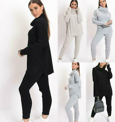 Womens Chunky Knitted Polo High Neck loungwear 2 Piece Suit Co-Ord Set Leggings