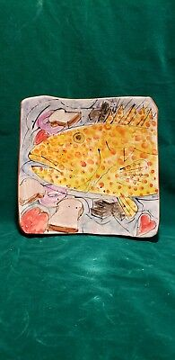 """Italica Ars Fish Plate Platter 8X8""""Ceramic Hand Painted Made in Italy Beautiful"""