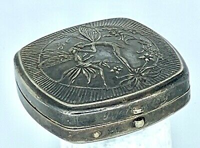 Antique Poudre Djer-Kiss Kerkoff Silver Plate Powder Compact Art Nouveau Fairies