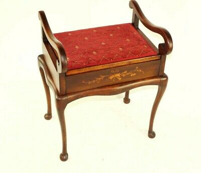 Antique Marquetry Inlaid Mahogany Piano Dressing Stool [5490]
