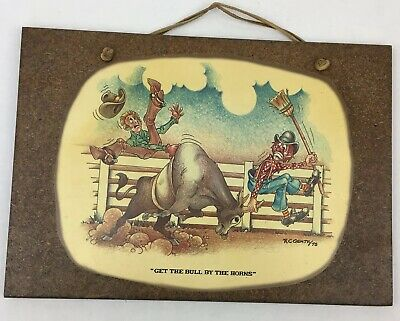 Vtg Rodeo Cowboy Clown Bull by the Horns Wall Plaque Pressed Wood RC Gentry 1975