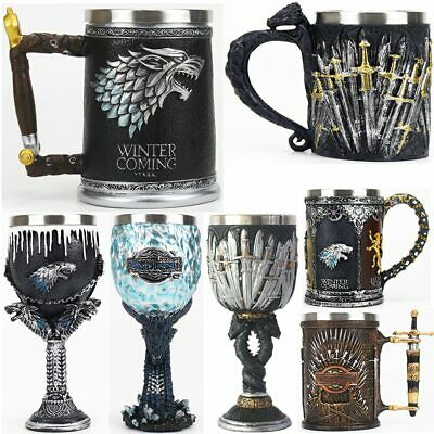Mug Goblet Stainless Steel Resin 3D Tankard Coffee Cup