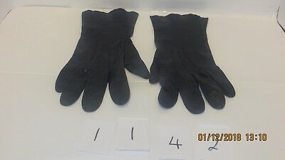 Lovely Pair Of Unlined Long Blue Leather Gloves - Size M (7)