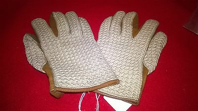 Lovely pair Of Vintage Czechslovakian Mens Crochet Driving Gloves - Size Small