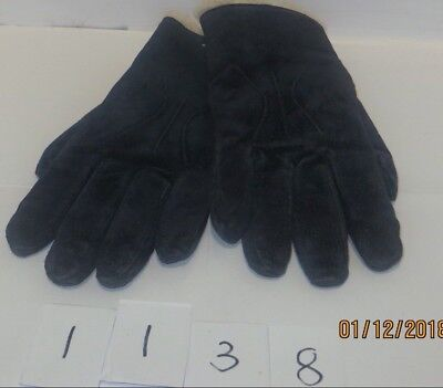Nice Pair Of BHS Navy Blue Suede Leather Gloves - Size Large