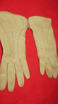 "Vintage Paif Of French ""Marcassin"" Beige Leather Gloves - Unlined - Size 7 1/4"