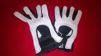 Lovely pair Of Vintage Mens Black and White Crochet Driving Gloves - New