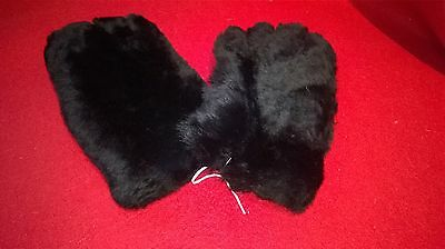"Pair Of Black Faux Fur ""Teddy"" Gloves / Gauntlets - Size Small / Medium"
