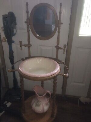 Vintage Wash Basin And Pitcher With Wooden Stand