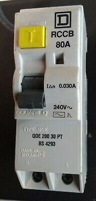 SQUARE D QOE 200 30 PT RCD / RCCB 80 Amp 30mA BS4293 ! Live Tested ! Double Pole