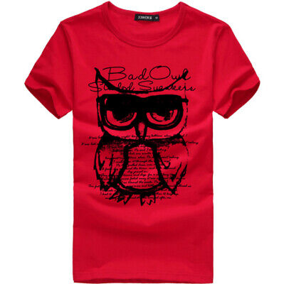 Men's Slim Fit Owl Print O Neck Short Sleeve Muscle T-shirt Casual Tops Blouse