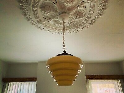 Art Deco 1930's Large Beehive Yellow Light Shade & Chrome Fixture