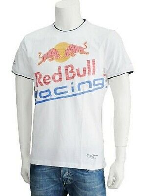 T-SHIRT rot Bull Racing Formula One 1 F1 Pepe Jeans Fashion Tee weiss DE