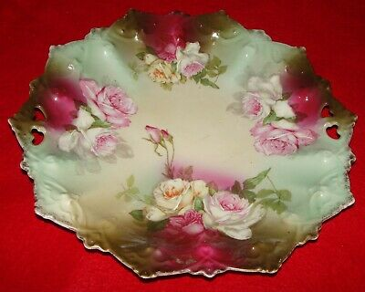 Antique Hand Painted Decorative Plate w/ Roses  MZ Austria / Victorian Craft Art
