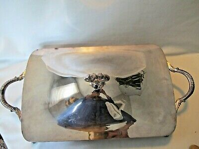 Vtg ERCA Bristol  Silverplate by Poole Covered Casserole Dish for 9 x14 Footed