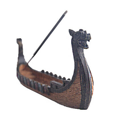 Dragon Boat Incense Stick Holder Burner Hand Carved Carving Censer Ornament F3P8