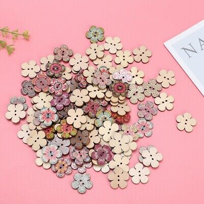 100PCS Mixed Wooden Buttons Natural Color Flower Shaped 20mm Sewing Scrapbooking