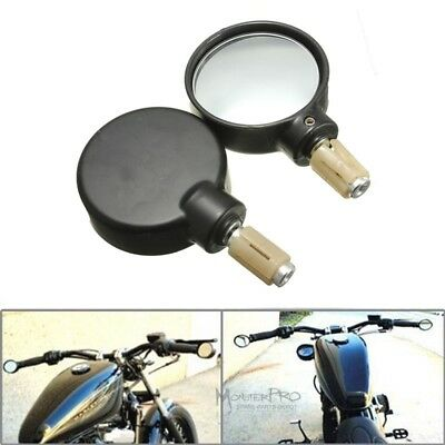 SUNDELY/® Black Round Universal Motorcycle Bar End Mirrors//Motorbike Rearview ID13MM/&18MM
