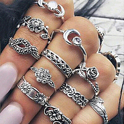11Pcs Set Silver Gold Boho Carved Arrow Moon Midi Finger Knuckle Rings!Q