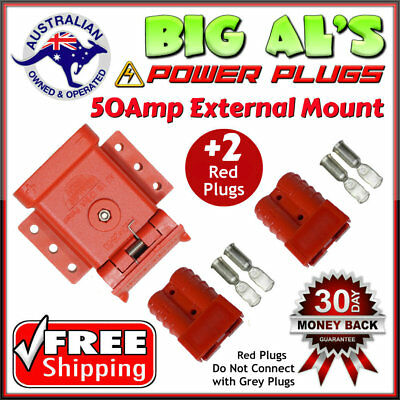 RED 50A Anderson External Mounting System Kit Bracket Cap Cover +2 RED Plugs