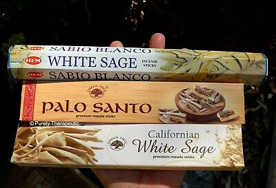 SMUDGING PACK OF 3 INCENSE STICKS Variety Wicca Smudge Yoga Ritual Cleansing