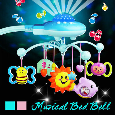 AU Baby Musical Crib Bed Cot Mobile Stars Dreams Light Flash Nusery Rhymes Toys