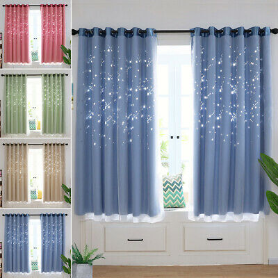 Thermal Insulated Blackout Window Curtains & Mesh Eyelet Ring Top for Kids Room