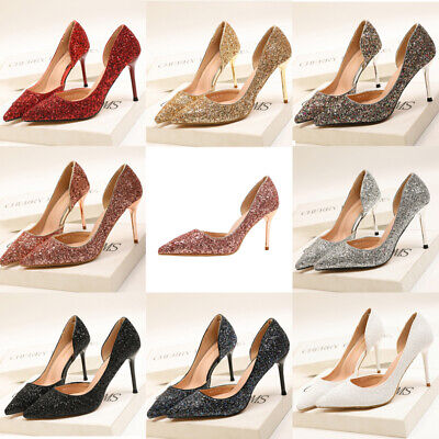 Women Glitter Luxury Bling High Heel Shoes Point Toe Sandals Porm Stiletto Pumps