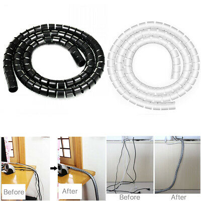 2M Cable Management Holder Cord Wire Line Organizer 10mm Cover Sleeves for PC TV