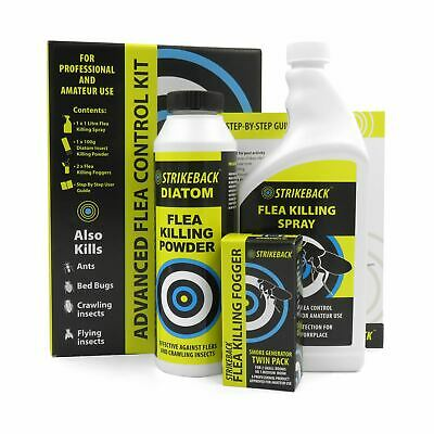 Strikeback Advanced Flea Control Kit Spray Fogger Kills Ants Bed Bugs Insect Fly