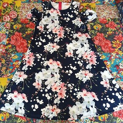 Ted Baker Age 14 Girls Navy Blue Designer Blossom Print Cold Shoulder Dress