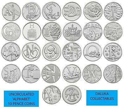 ALPHABET TEN PENCE 10p COINS UNCIRCULATED  A - Z  Royal Mint BRITISH COIN HUNT