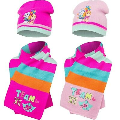 Official Girls Kids Paw Patrol Winter Hats And Scarf Sets 1-5 Years