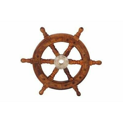 """12"""" Teak Wood Ship Wheel with Brass Inset and Six Spokes, Brown and Gold"""