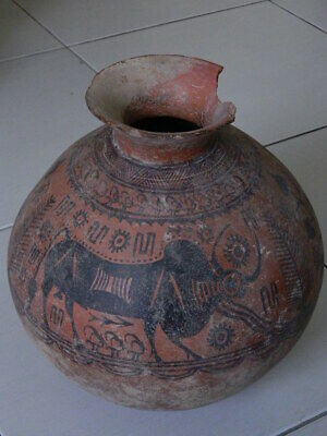 Ancient Huge Size Teracotta Painted Pot With Bulls Indus Valley 2500 BC #Ik509