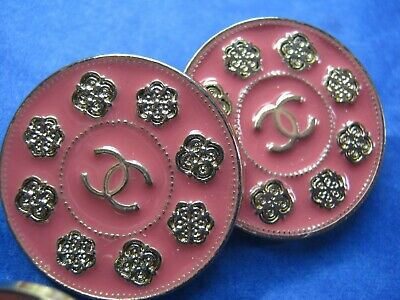 Chanel 2 cc buttons pink matte gold 24mm large lot of 2 good condition