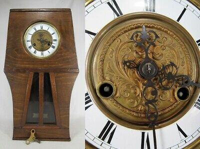 antique GERMAN CLOCK antique vintage DRGM wall old OAK key RARE
