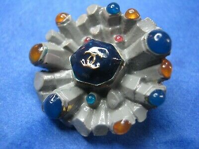 Chanel 1 cc button orange blue 24mm large lot of 1 good condition