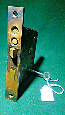YALE & TOWNE P-1842 DOUBLE KEY ENTRY MORTISE LOCK w/KEY - RESTORED (13009)